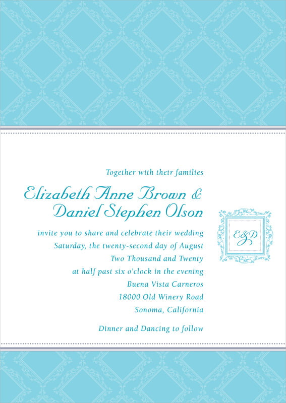 custom invitations - bahama blue - filigree (set of 10)
