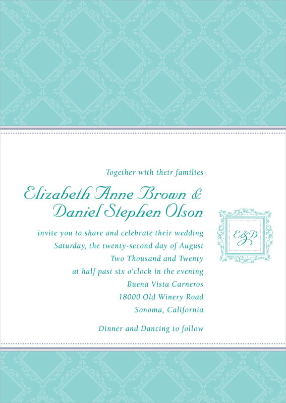 custom invitations - aruba - filigree (set of 10)