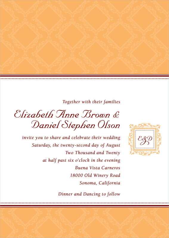 custom invitations - tangerine - filigree (set of 10)