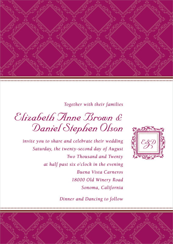 custom invitations - burgundy - filigree (set of 10)