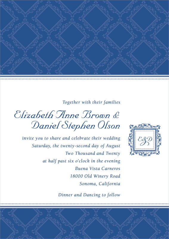 custom invitations - deep blue - filigree (set of 10)