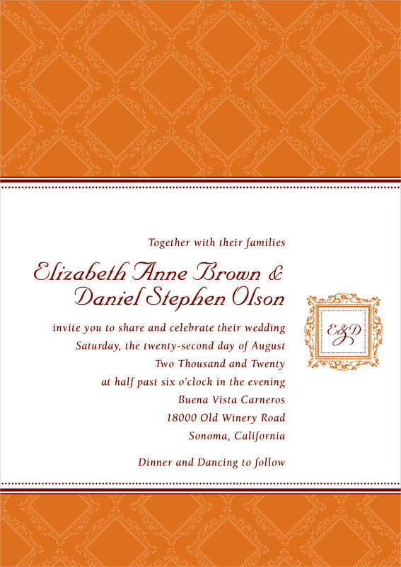 custom invitations - spice - filigree (set of 10)