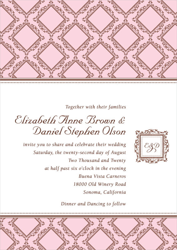 custom invitations - cocoa & pink - filigree (set of 10)