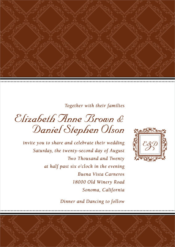 custom invitations - chocolate - filigree (set of 10)