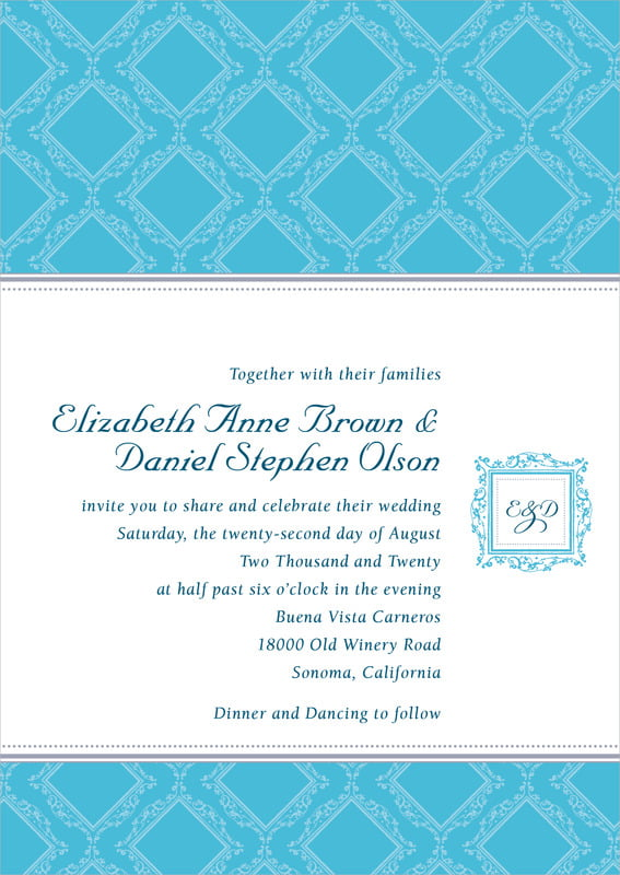 custom invitations - sky - filigree (set of 10)