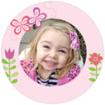 Flower Garden Circle Photo Label In Pink