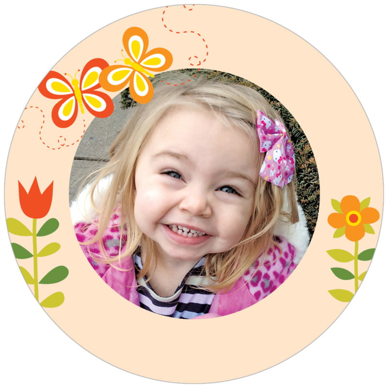 circle photo labels - peach - flower garden (set of 20)