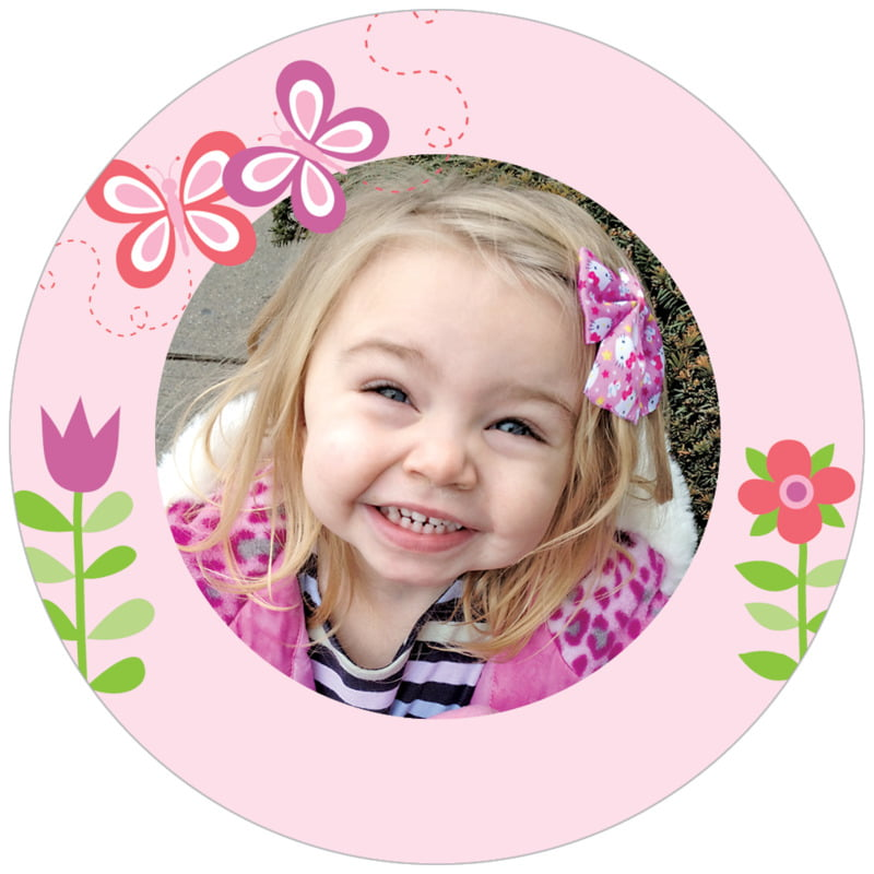 circle photo labels - pink - flower garden (set of 20)