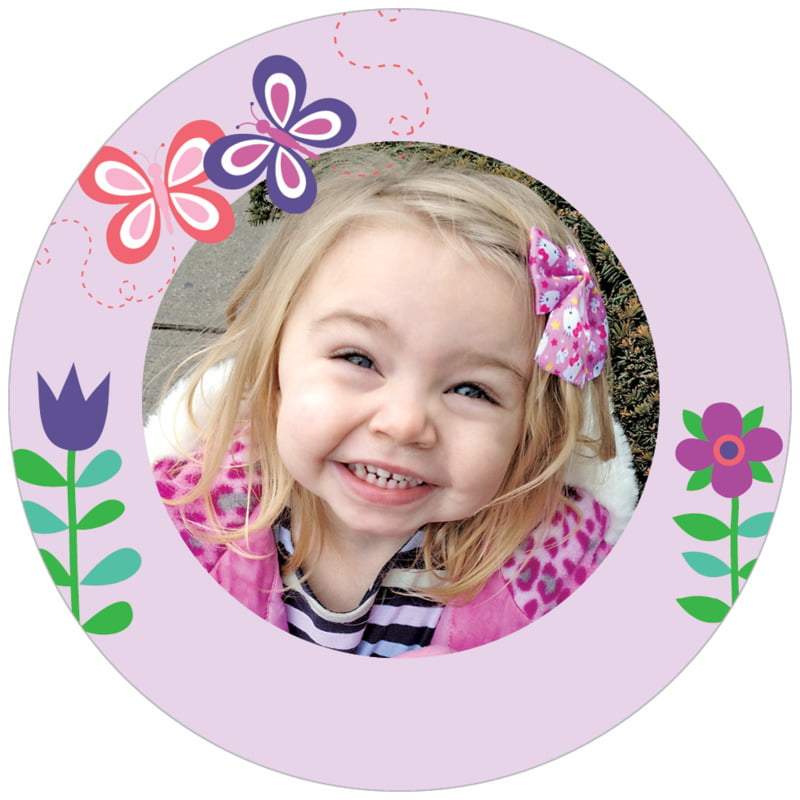 circle photo labels - lilac - flower garden (set of 20)