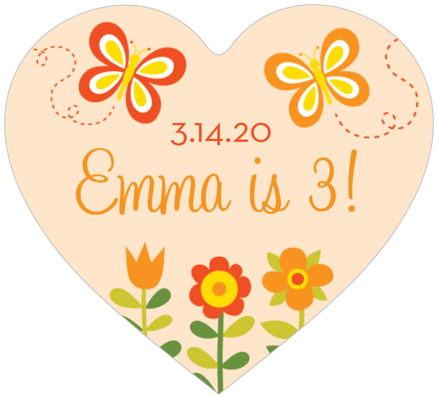 small heart food/craft labels - peach - flower garden (set of 20)
