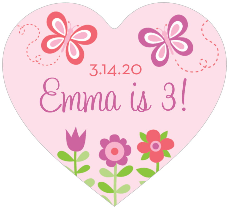 small heart food/craft labels - pink - flower garden (set of 20)