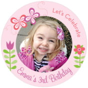 Flower Garden Round Coaster In Pink
