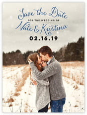 Falling Snow save the date cards
