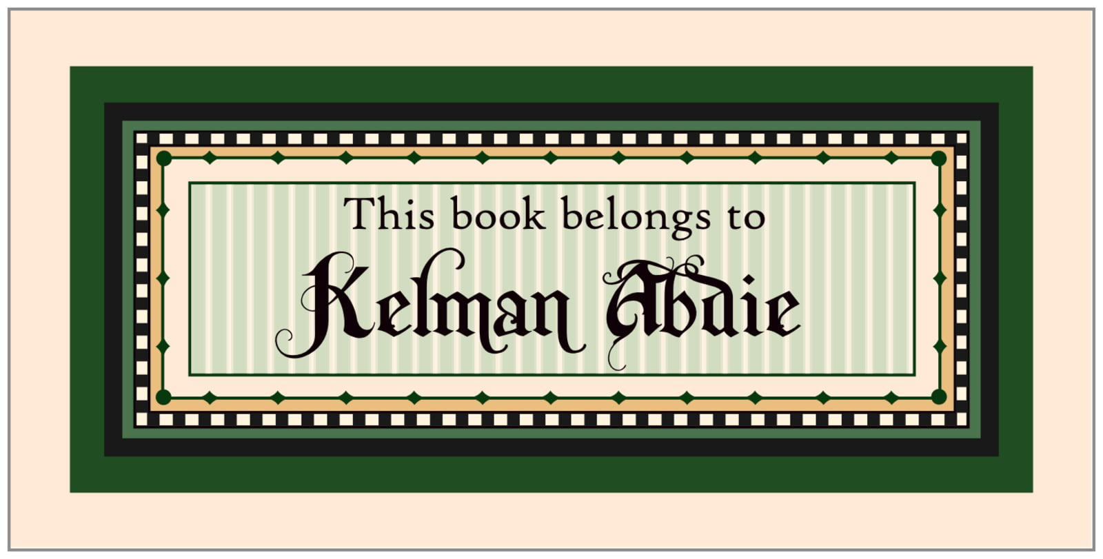 bookplates for everyone - deep green - folio (set of 24)