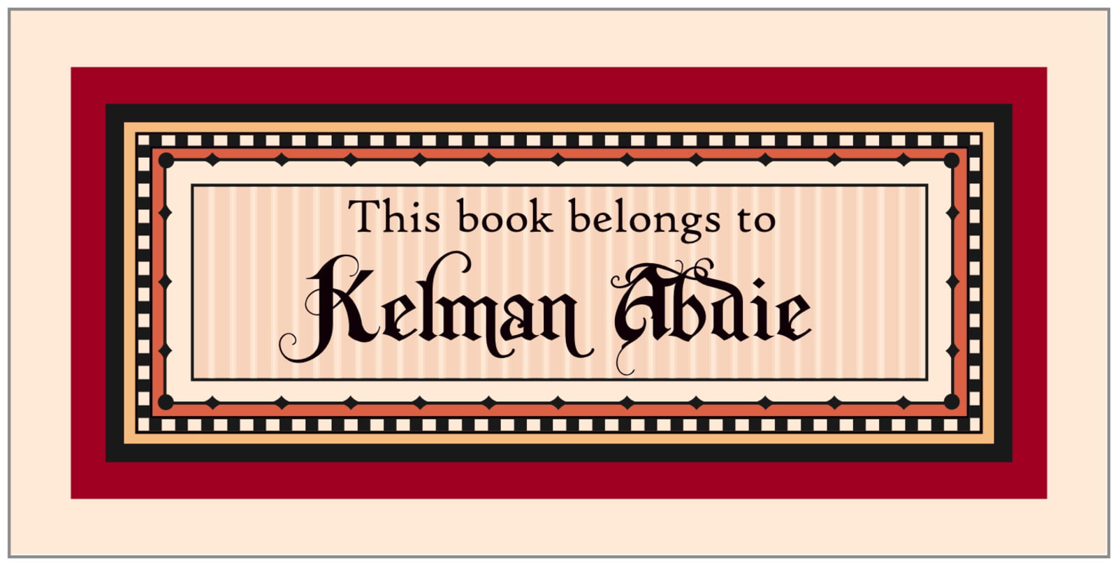 bookplates for everyone - red & gold - folio (set of 24)