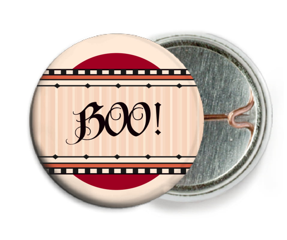 custom pin back buttons - red & gold - folio (set of 6)