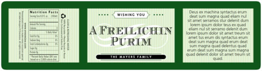 French Market purim labels