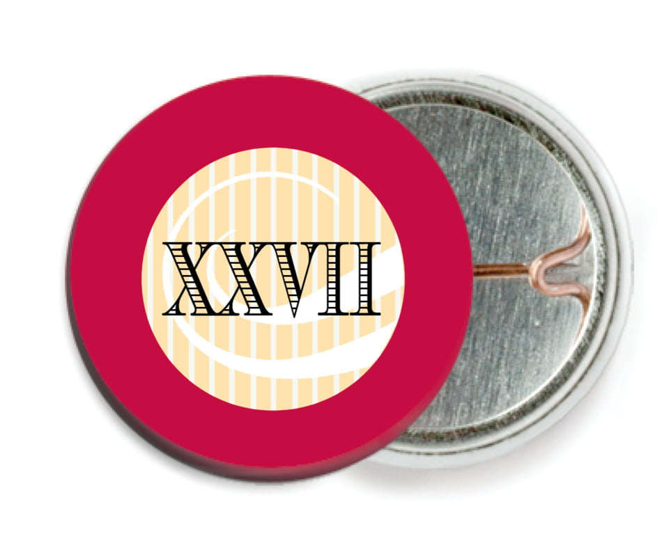 custom pin back buttons - deep red - french market (set of 6)