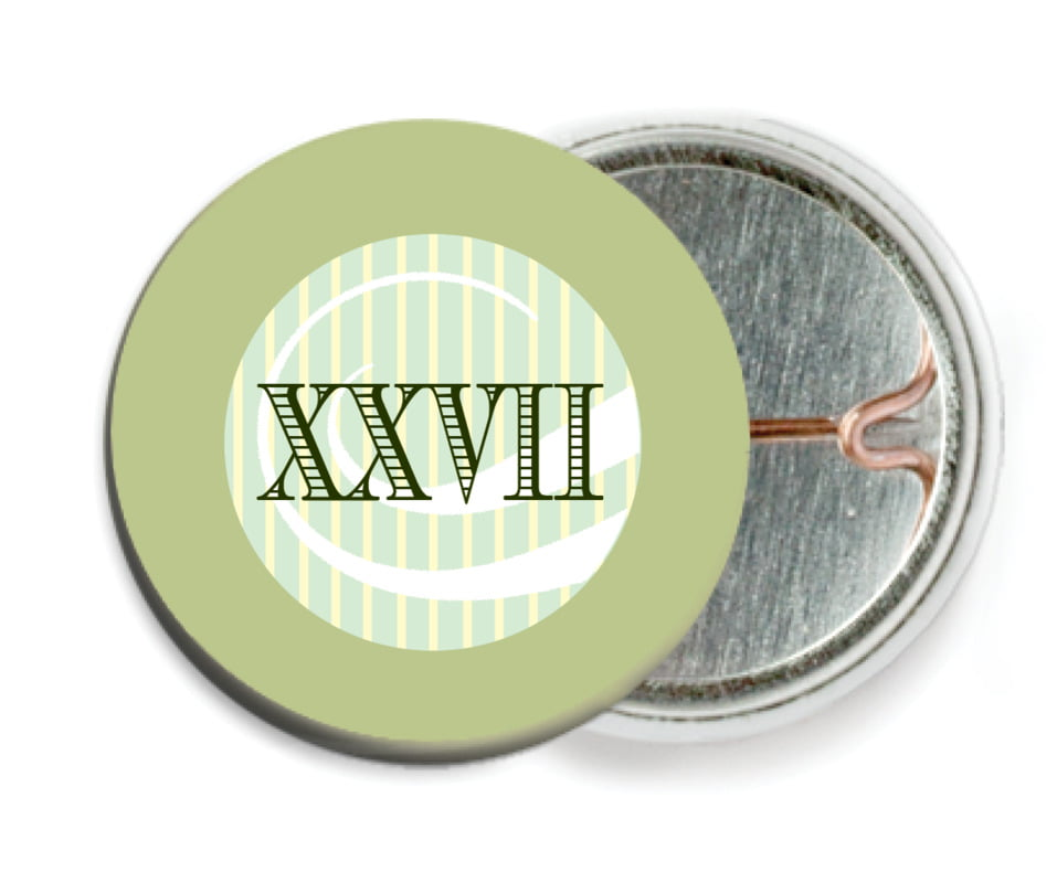 custom pin back buttons - green tea - french market (set of 6)