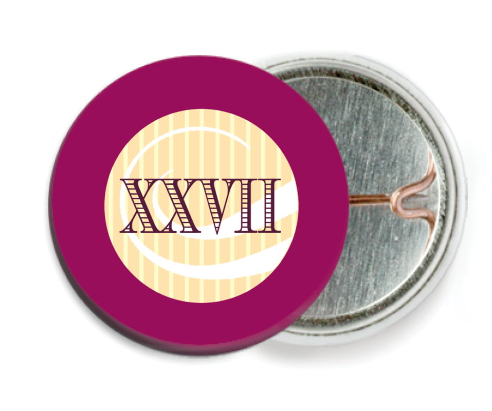 custom pin back buttons - burgundy - french market (set of 6)