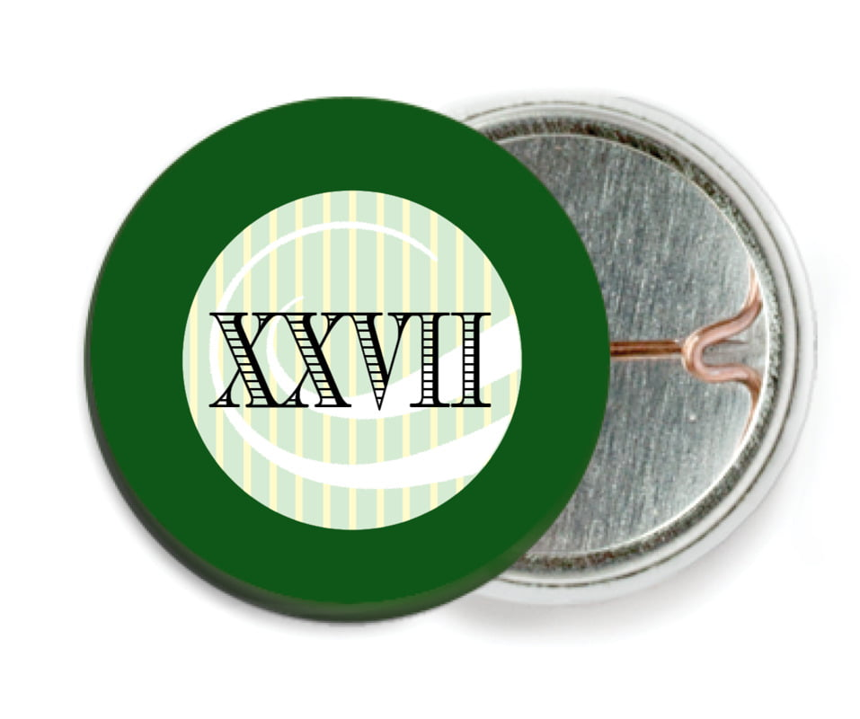 custom pin back buttons - green - french market (set of 6)