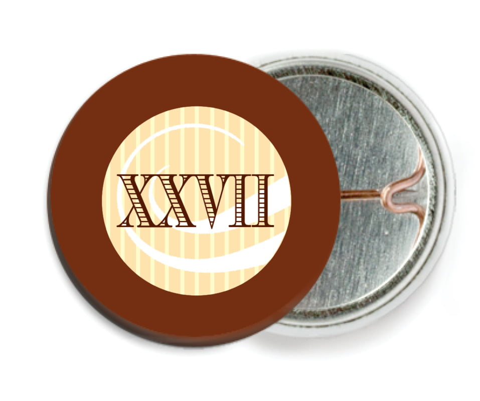 custom pin back buttons - chocolate - french market (set of 6)