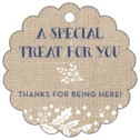 Forest Romance scallop hang tags