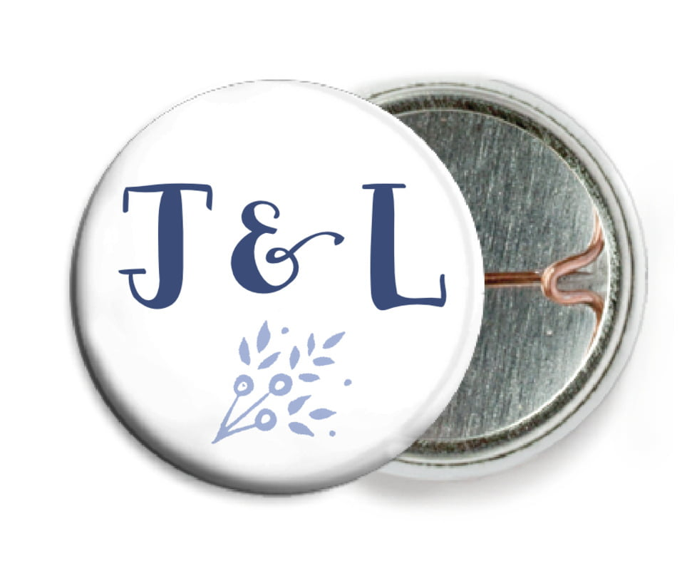 custom pin back buttons - periwinkle - forest romance (set of 6)