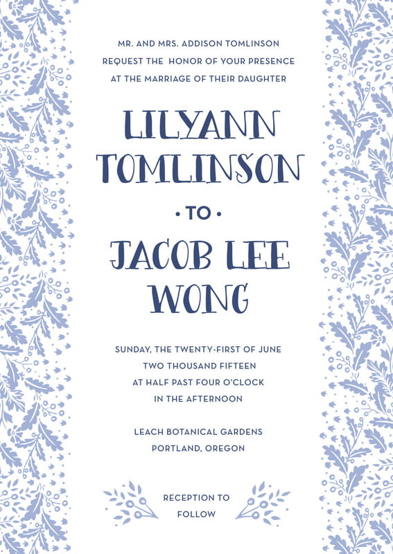 custom invitations - periwinkle - forest romance (set of 10)