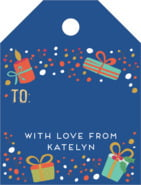 Festive Gifts Small Luggage Gift Tag In Deep Blue