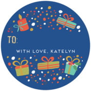 Festive Gifts Large Circle Gift Label In Deep Blue