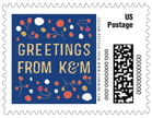 Festive Gifts Small Postage Stamp In Deep Blue
