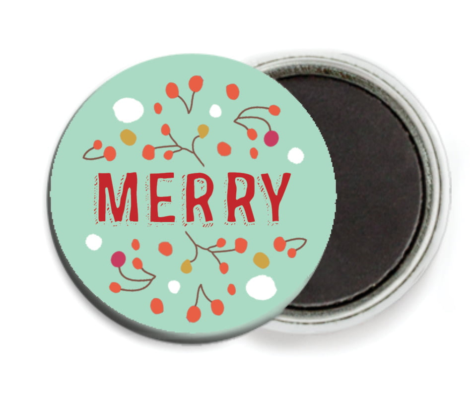 custom button magnets - aqua - festive gifts (set of 6)