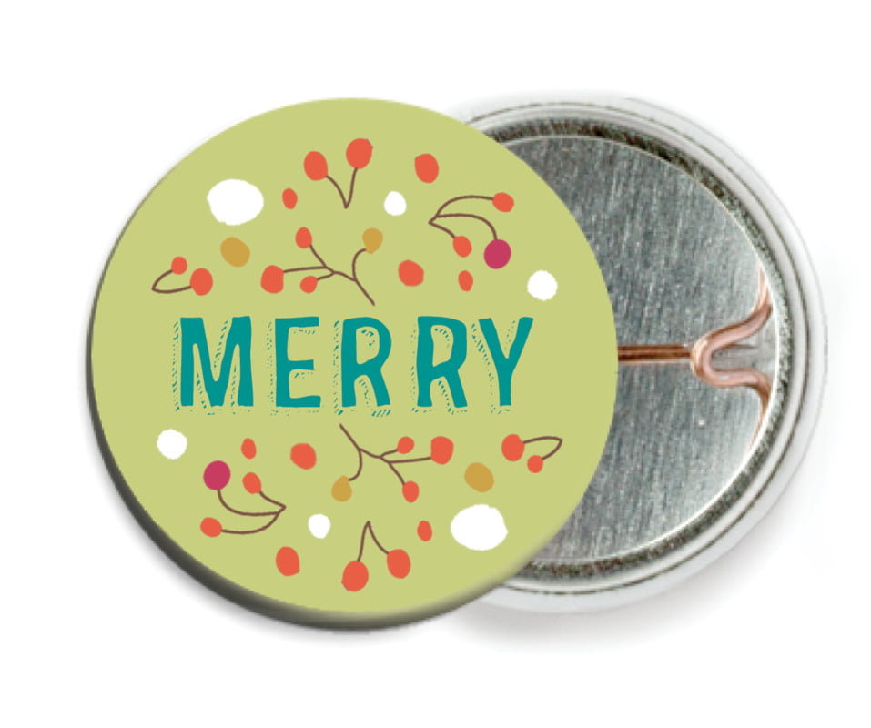 custom pin back buttons - green tea - festive gifts (set of 6)