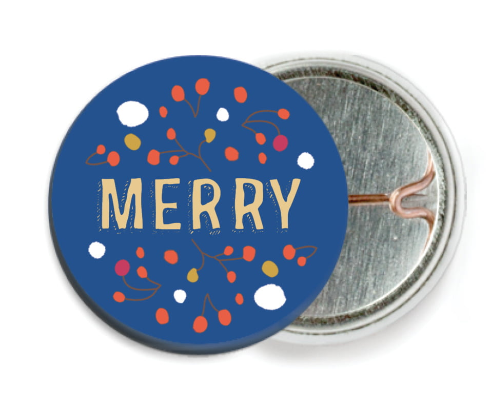 custom pin back buttons - deep blue - festive gifts (set of 6)
