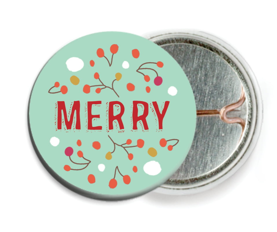 custom pin back buttons - aqua - festive gifts (set of 6)