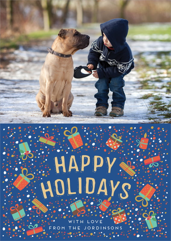 holiday cards - deep blue - festive gifts (set of 10)