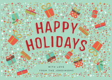 holiday cards - aqua - festive gifts (set of 10)