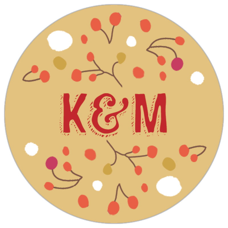 small circle food/craft labels - deep gold - festive gifts (set of 70)