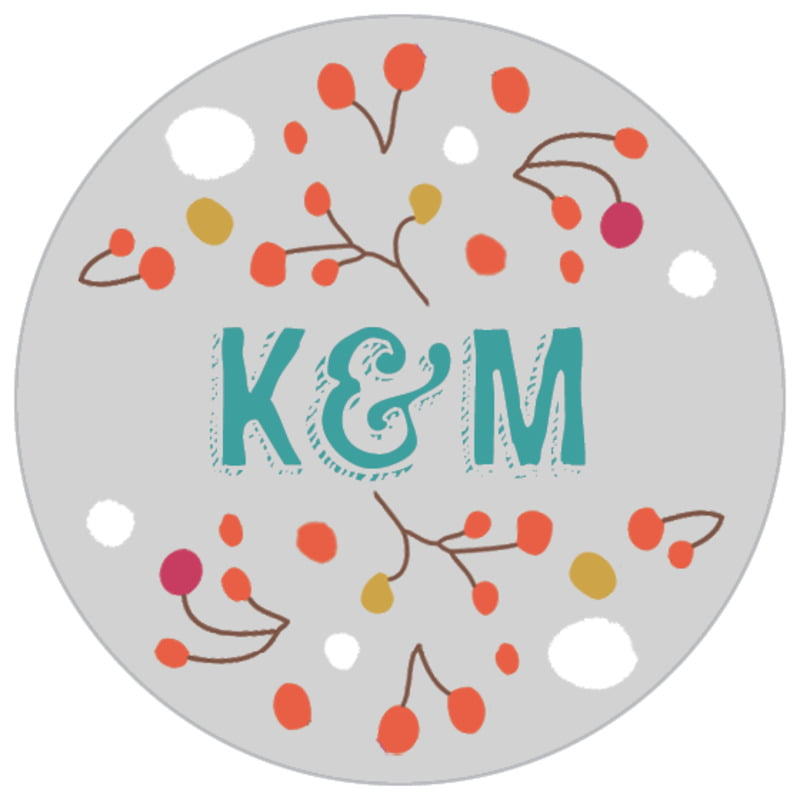 small circle food/craft labels - stone - festive gifts (set of 70)