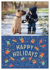 Festive Gifts Photo Cards - Vertical In Deep Blue