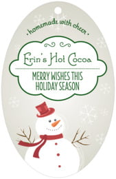 Frosty large oval hang tags