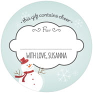 Frosty large circle gift labels