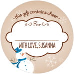 Frosty small circle gift labels