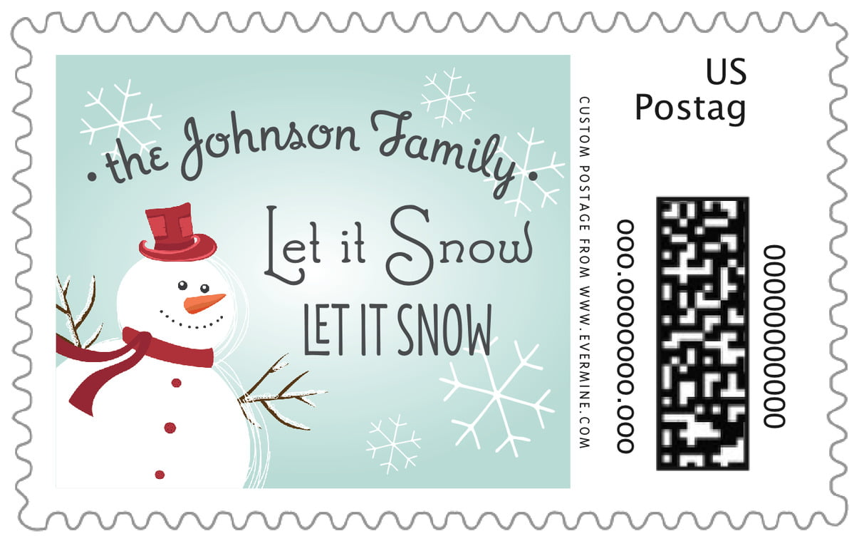 custom large postage stamps - ice blue - frosty (set of 20)