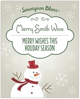 Frosty holiday wine labels
