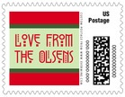 Festive Stripes christmas postage stamps