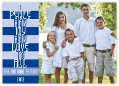 Festive Stripes Photo Cards - Horizontal In Blue