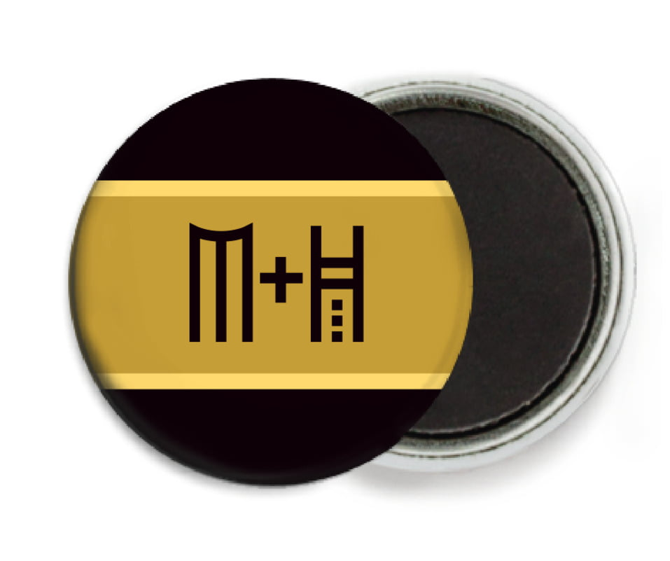 custom button magnets - black & gold - festive stripes (set of 6)