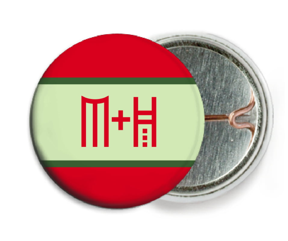 custom pin back buttons - red - festive stripes (set of 6)
